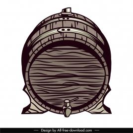 wine barrel icon retro handdrawn sketch