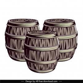 wine barrels icons vintage handdrawn design