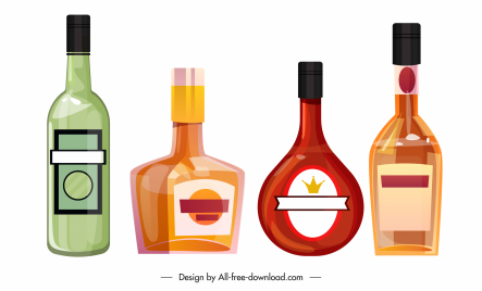 wine bottle icons colored flat shapes sketch