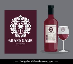 wine brand identity template elegant flat symmetric decor