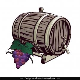 wine design element retro grape barrel sketch