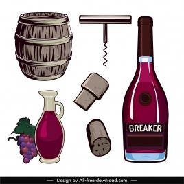 wine design elements colored retro symbols sketch