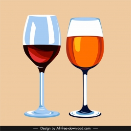 wine glass icons elegant flat sketch