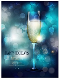 wine glass on blue abstract background