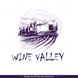 wine label design elements retro handdrawn field scene
