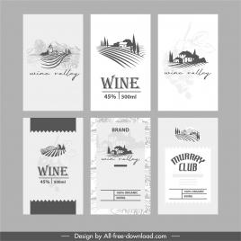 wine label templates elegant black white decor