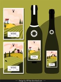 wine label templates field scenery decor