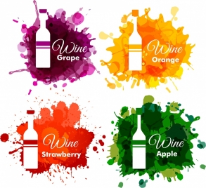 wine logo collection bottle design colorful grunge style