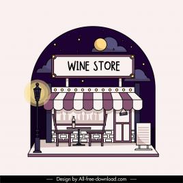 wine store exerior background dark flat design