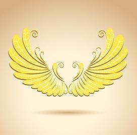 wings icon shiny golden design luxury style