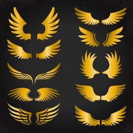 wings icons collection shiny yellow various shapes