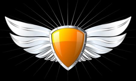 wings shield icon shiny colored design