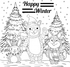 winter background bear rabbit fox icons handdrawn sketch