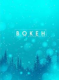winter background blue fir trees icons bokeh decor