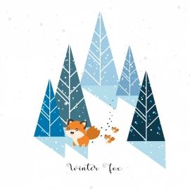 winter background fox snow tree icons decoration