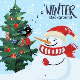 winter background snowman fir tree icons classical design