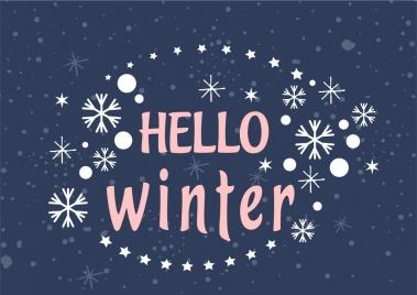 winter celebration background snowflakes stars text ornament