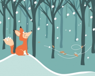 winter drawing fox snow wind icons cartoon design
