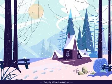 winter landscape painting colored classic decor cartoon design