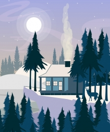 winter landscape painting cottage moonlight forest snow icons
