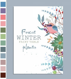 winter plants background leaf bird fruits icons decor