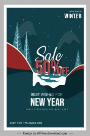 winter sale poster snow trees sketch dark design