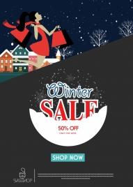 winter sale poster snowy outdoor decor webpage design
