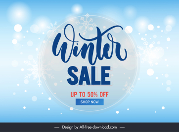 winter sale poster template twinkling crystal snowflakes decor