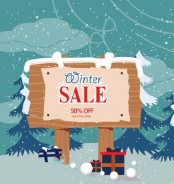 winter sale poster wooden signboard snowfall icons decor
