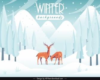 winter scene background forest reindeers sketch