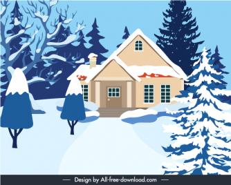winter scene background snow house trees sketch
