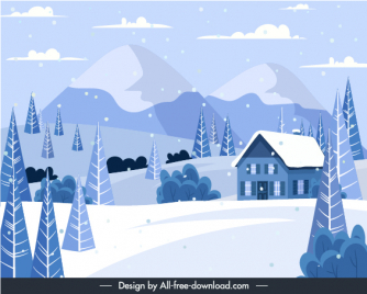 winter scene background snow mountain cottage trees sketch