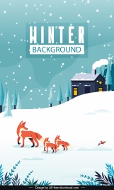 winter scene background snowfall foxes cottage sketch
