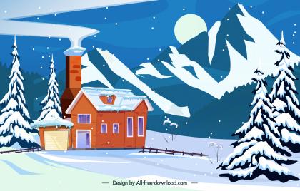 winter scene background snowy cottage mountain sketch