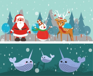 winter themes design christmas and submarine decoration
