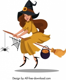 witch icon flying girl broom sketch cartoon character