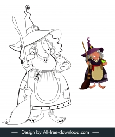 witch icon handdrawn cartoon character sketch