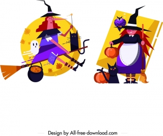 witch icons colored cartoon characters