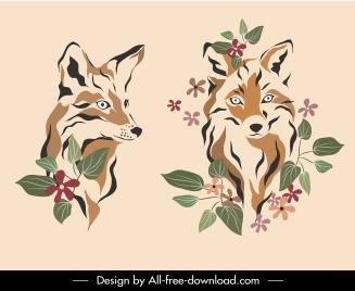 wolf fox icons handdrawn sketch floral decor