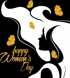 woman day banner woman icon glittering silhouette decoration