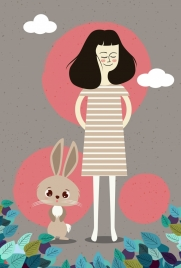 woman drawing bunny leaves decoration colored cartoon