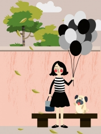 woman drawing puppy balloon decoration colored cartoon design