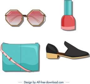 woman fashion accessories icons modern colored design