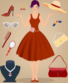 woman fashion accessory design elements multicolored icons