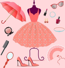 woman fashion accessory icons 3d pink decor