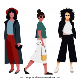 woman fashion icons contemporary design cartoon characters sketch