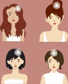 woman hairstyles collection colored cartoon design