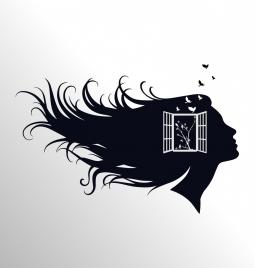 woman head background black silhouette window decoration