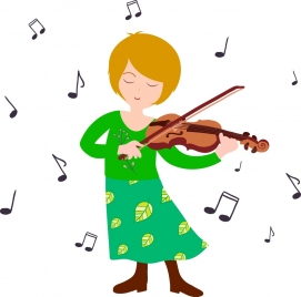 woman playing violin icon colored flat design style