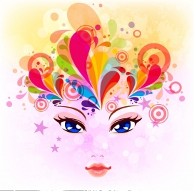 woman portrait background colorful curves decoration